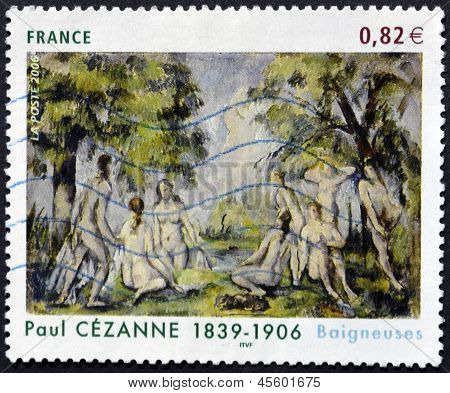 A stamp printed in France shows the painting