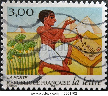 FRANCE - CIRCA 1998: A stamp printed in France shows Egyptian scribe circa 1998