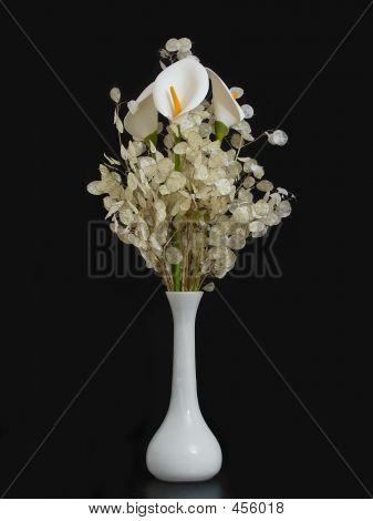 White Flowes And Vase