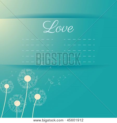 Dandelion seeds flying away on the wind vector invitation card on light blue color