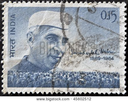 INDIA - CIRCA 1964: stamp printed by India shows Jawaharlal Nehru and People circa 1964