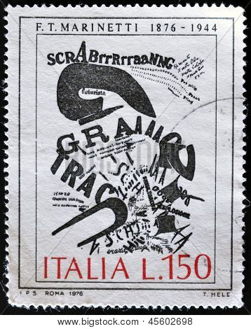ITALY - CIRCA 1976: A stamp printed in Italy shows work of Marinetti circa 1976
