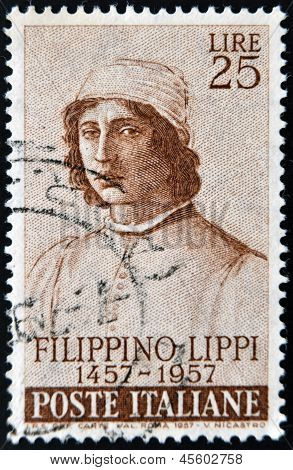 ITALY - CIRCA 1957: A stamp printed in France shows Filippino Lippi circa 1957