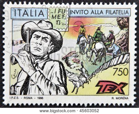 ITALY - CIRCA 1996: A stamp printed in Italy shows Tex Willer circa 1996