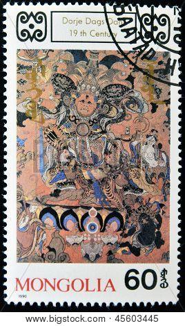 Mongolei - CIRCA 1990: Eine Briefmarke gedruckt in der Mongolei zeigt Dorje Dags Dan buddhistischen Gottheit circa 1990