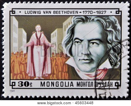 A stamp printed in Mongolia shows image of the famous German composer Ludwig van Beethoven