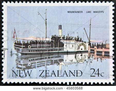 NEW ZEALAND - CIRCA 1984: A stamp printed in New Zealand shows Mountaineer lake wakatipu circa 1984