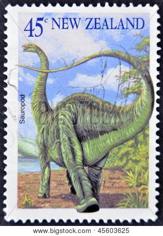 NEW ZEALAND - CIRCA 2004: A stamp printed in New Zealand shows image of a Sauropod circa 2004