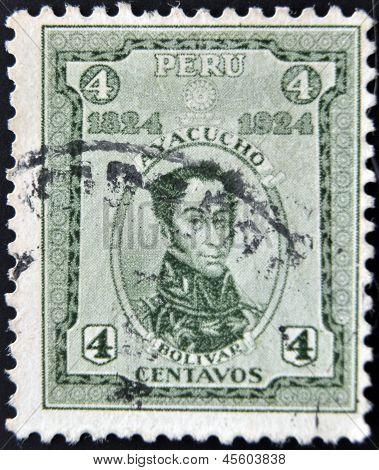 PERU - CIRCA 1924: A stamp printed in Peru shows Simon Bolivar circa 1924