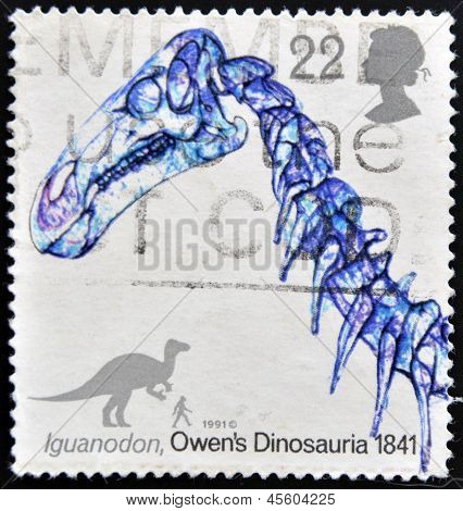 A stamp printed in Great Britain shows Iguanodon owen�s dinosauria 1841