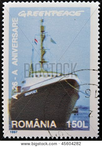 A stamp printed by Romania shows Greenpeace