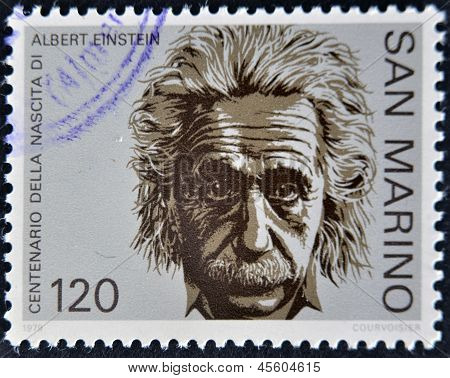 SAN MARINO - CIRCA 1979: A stamp printed in San Marino shows Albert Einstein circa 1979