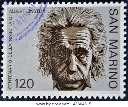 SAN MARINO - ca. 1979: Eine Briefmarke gedruckt in San Marino zeigt Albert Einstein ca. 1979
