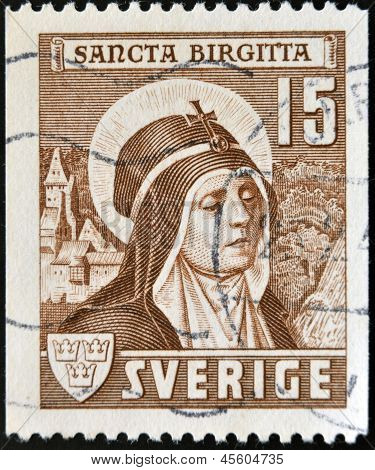 SWEDEN - CIRCA 1941: A stamp printed in Sweden showsSt. Brigid circa 1941