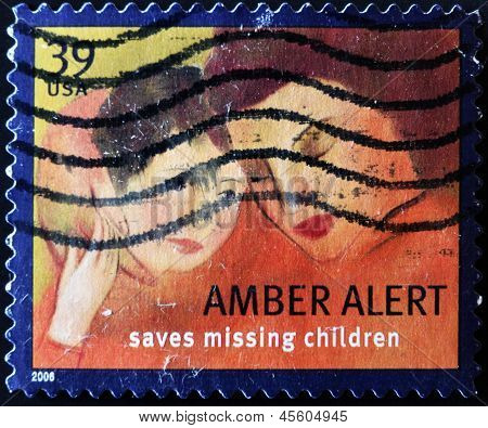 United States - Circa 2006: A Stamp Printed In Usa Shows Mother And Child, Amber Alert, Circa 2006