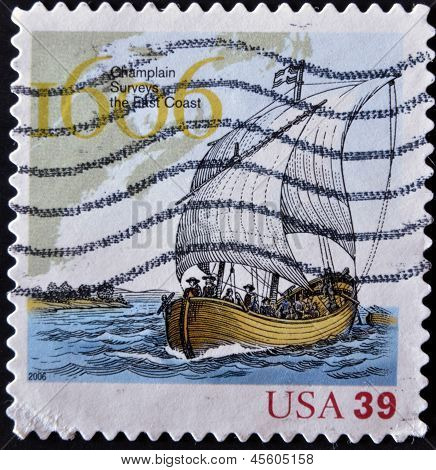 stamp printed in USA shows clouds champlain surveys the east coast