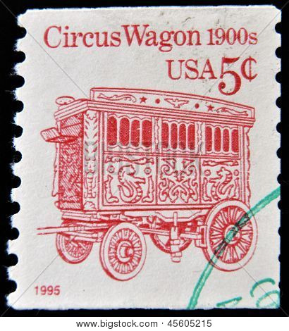 stamp printed in the USA shows Circus Wagon 1900s