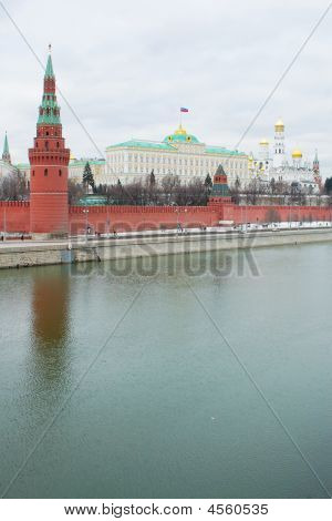 Red Square And Moscow River View In Winter