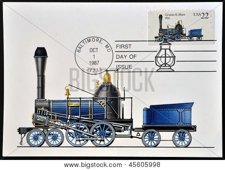 A stamp printed in USA shows locomotive Gowan & Marx