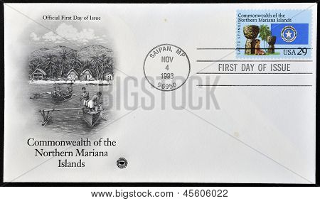 A Stamp printed in USA dedicated to Commonwealth of the Northern Mariana Islands
