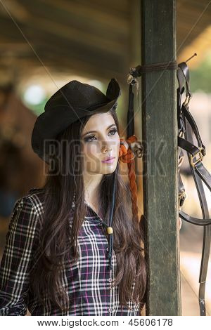 Attractive Girl In Horse Ranch
