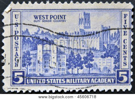 United States Of America - Circa 1937: A Stamp Printed In Usa Shows Military Academy At West Point,