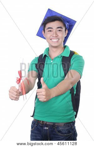 Young Asian graduation student guy