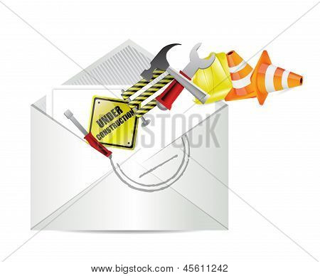 Under Construction Notice Email Envelope
