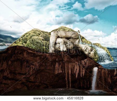 Sleeping Woman - Tropical Island In Cut