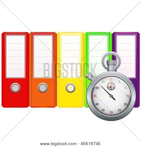 Binders and stopwatch