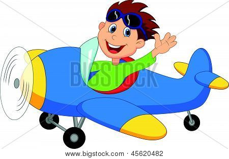 Little Boy Cartoon Betrieb ein Flugzeug