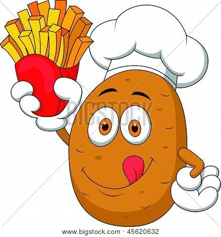 Potato Chef cartoon Holding Up A French Fries