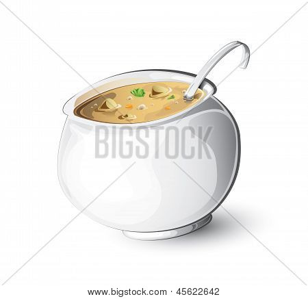 Cooking kettle with meal