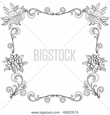 Abstract floral background, outline