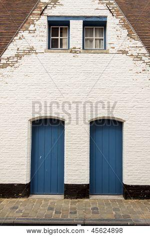 Two Blue Wooden Door - Brugge, Belgium.