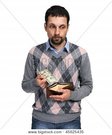 Upset man holding one dollar in hand and showing empty wallet