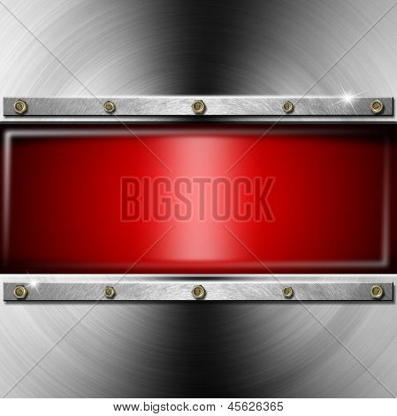 Metal Background With Red Screen
