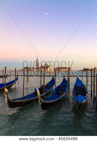 Gondolas At Sunset With San Giorgio Di Maggiore Church, Venice, Venezia, Italy