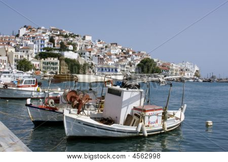 Boats Lined Up In Harbor, Greece