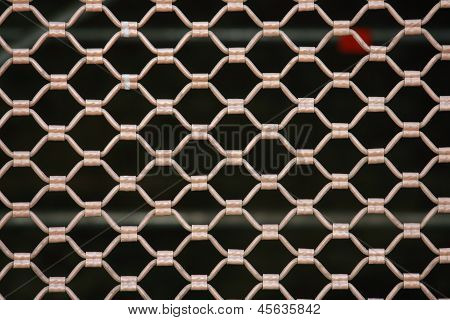 Metallic Security Net With Black Background