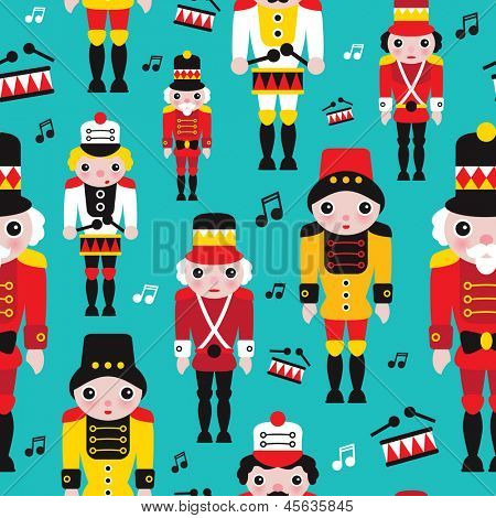Seamless tin soldiers kids vintage toy background pattern in vector