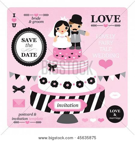 Fun wedding template bridal illustrations with bride and groom on cake in vector