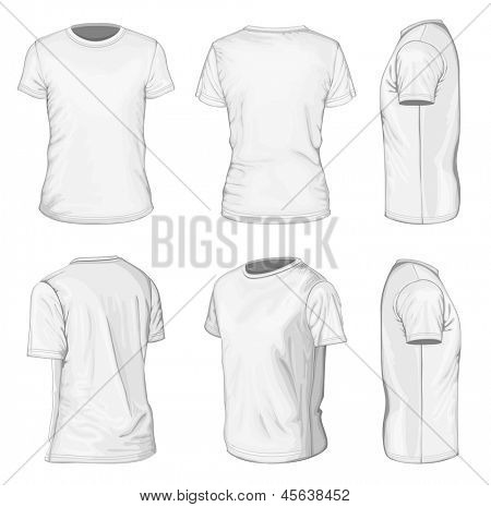 All views men's white short sleeve t-shirt design templates (front, back, half-turned and side views). Vector illustration. No mesh.