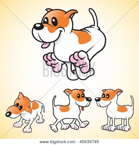 Cartoon vector dogs in various poses. This is 2 of 2 in a series.