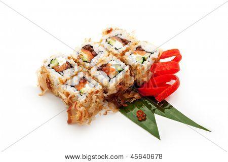 Bonito Maki Sushi - Rolls with Fresh Salmon, Cucumber, Cream Cheese and Ikura (salmon roe) inside. Dried Shaved Bonito outside