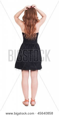 Back view of shocked  redhead woman . upset young  girl. Rear view people collection.  backside view of person.  Isolated over white background. angry girl grabbed hair hands