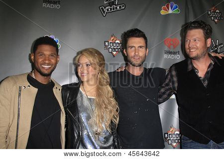 WEST HOLLYWOOD, CA - MAY 8:  Usher; Shakira; Adam Levine; Blake Shelton at the NBC's 'The Voice' Season 4 Red Carpet Event at the House of Blues on May 8, 2013 in West Hollywood, California