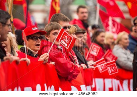 MOSCOW - MAY 1: Unidentified communist party supporters take part in a rally marking the May Day, May 1, 2013 in Moscow, Russia.