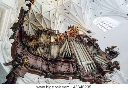 GDANSK, POLAND - MAY 6, 2013: Great organ of Oliwa Archcathedral on 6 May 2013. Great Oliwa organ constructed between the years 1763 and 1788 contained 5100 pipes was the largest organ in Europe.