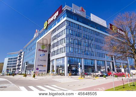GDANSK, POLAND - MAY 06, 2013: Modern buildings architecture of Olivia Business Centre in Gdansk on 6 May 2013. Olivia Business Centre is the largest office centre in Tri-City and Northern Poland.